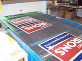 One of our 18,000 watt UV lights - Cures your political signs instantly - Now that's fast!